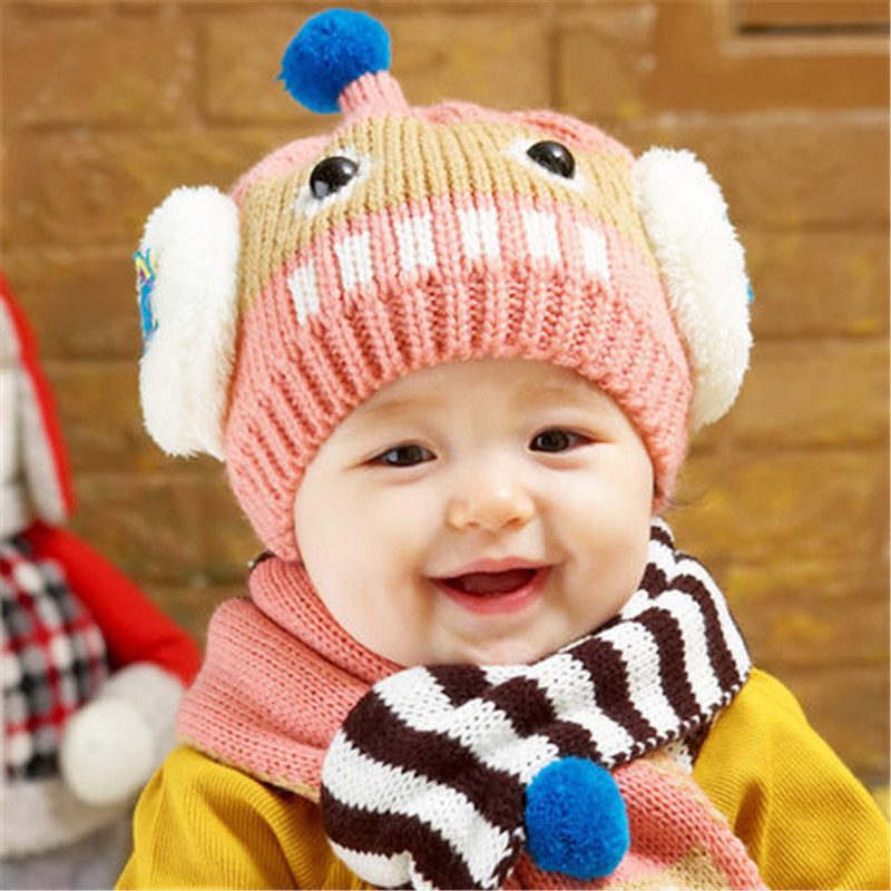 New 2016 Baby Winter Hats Cartoon Robot Baby Boy Girl Woolen Hats Newborn  Baby Knitted Beanies+Scarf Twinset (12 M 3Years Old)-in Hats   Caps from  Mother ... 01423cc2478