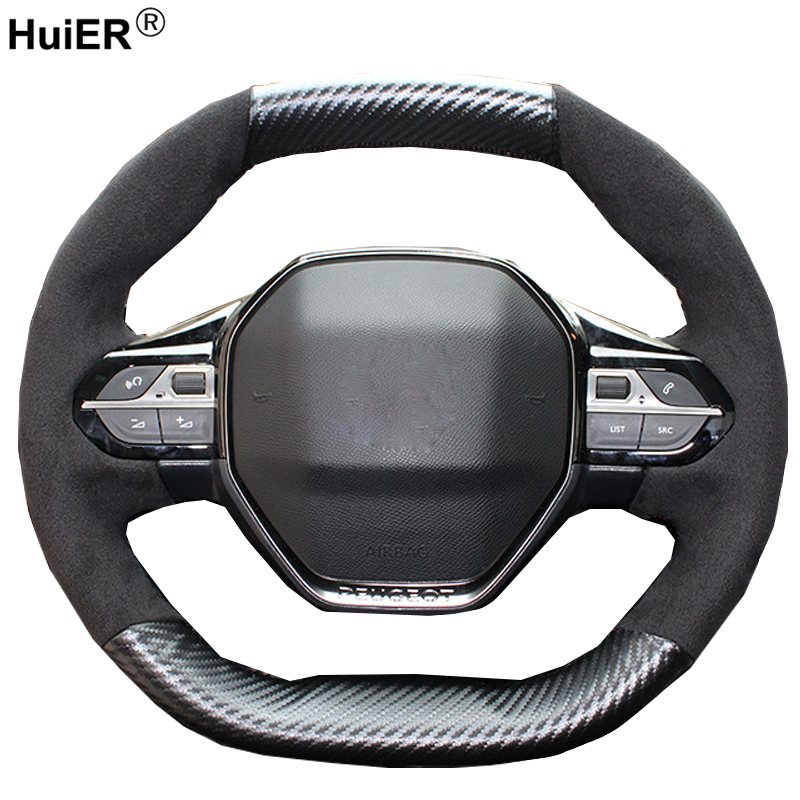 HuiER 3 Styles Hand Sewing Car Steering Wheel Cover Fashion For Peugeot 4008 2017 2018 3008