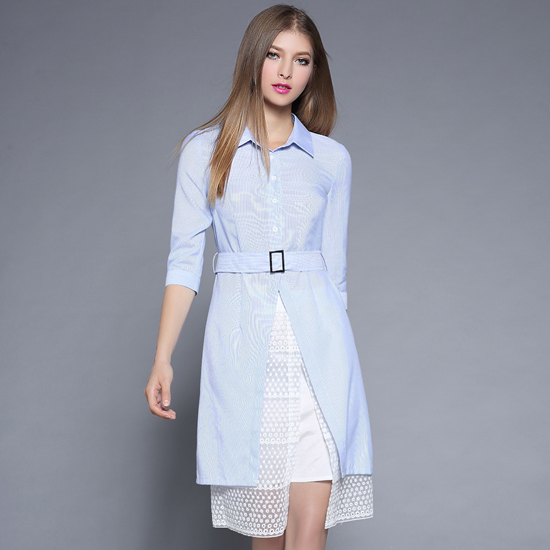 2 Pieces New Women Office Dress Half Sleeve Female Summer Turn Down Collar Casual Cotton Dress