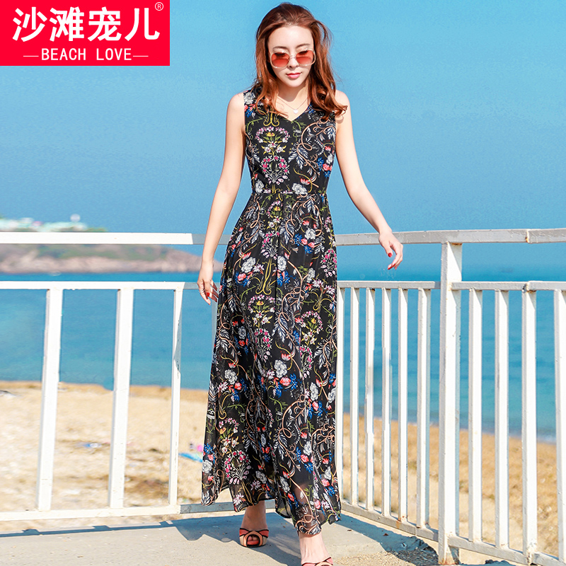 Seaside holiday long dress beach dress summer black bottom printing bohemian dress vest halter chiffon temperament beach dressSeaside holiday long dress beach dress summer black bottom printing bohemian dress vest halter chiffon temperament beach dress