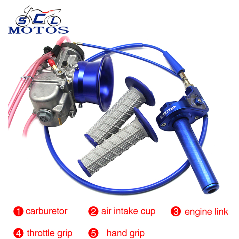 Sclmotos PWK 34,36,38,40,42mm Air Striker Carburetor with Wind Cup,Throttle Grips Engine for Motorcycle Scooter ATV Dirt Bike