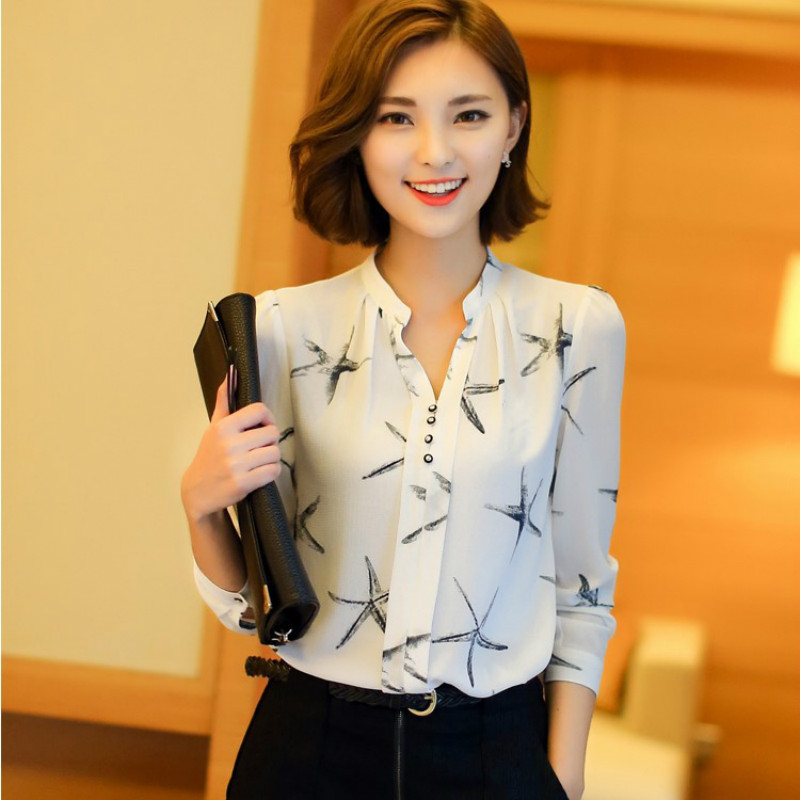 Summer 2019 Blouses Women's Tops Office Work Elegant Chiffon Shirts black Slim Blouse Casual Long Sleeve Plus Size White Shirt 7