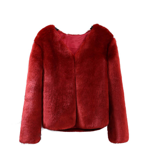 960441a1da16f placeholder Winter Women Solid Fluffy Hair Faux Fur Coat Black White Green  Pink Wine Red Plus Size