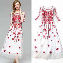 Top quality women summer dress 2017 new brand runway fashion lace embroidery slim party dress brief ankle-length a-line dress