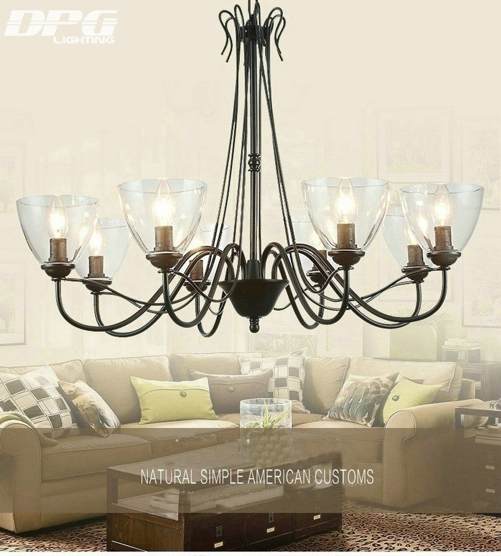 Wrought iron chandelier 4 6 8 lights black color frosted glass light modern art deco led black iron chandeliers lights fixtures with glass lampshade for the living room mozeypictures Image collections