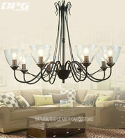Modern Art Deco Led Black Iron Chandeliers Lights Fixtures With Glass Lampshade For The Living Room