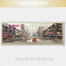 Professional Artist Hand-painted High Quality Wall Art Old HongKong Street Oil Painting on Canvas Hong Kong City
