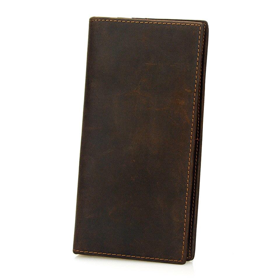 Vintage Men Crazy HorseLeather Men Wallet Long Male Coin Purse Wallet Boy Business Card Holder Wallet Men Dollar Price Money Bag