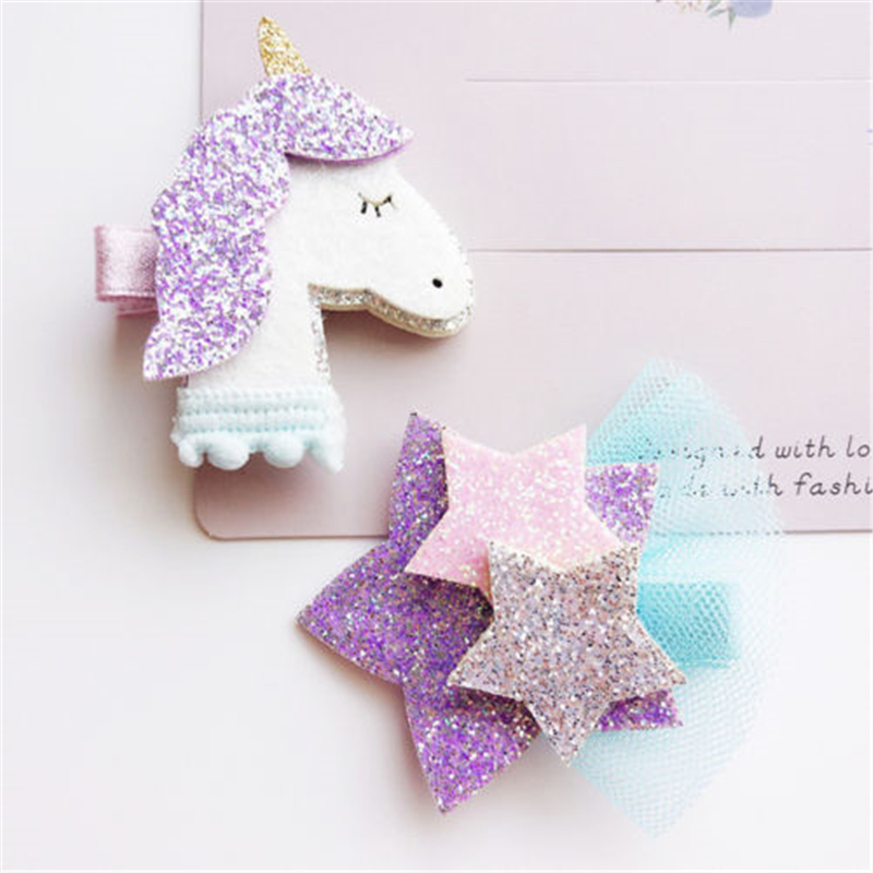 Baby Girls Stars Unicorn Headwear Hot Sale Kids Girl Hair Pins Clips 2017 New High Quality Hair Jewelry Unicorn Hair Accessories
