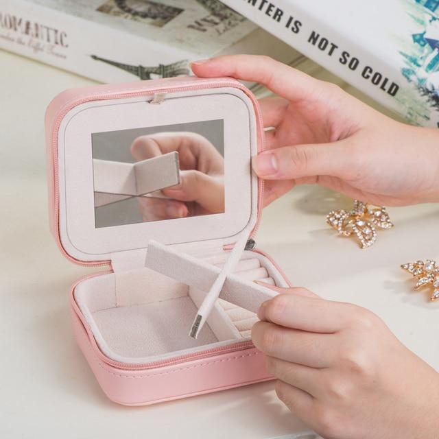 Fashion Mini Jewelry Box Blue Pink PU Leather Portable Travel