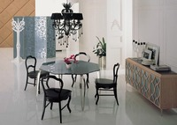 Stainless Steel Dinning Table With Dining Room Set With 4 Chairs Glass Top Table Moderns Style