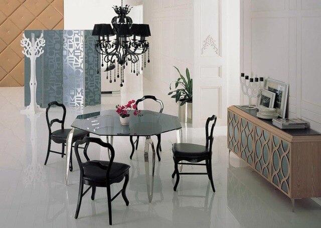Edelstahl Esstisch Mit Esszimmer Set Mit 4 Stühle, Glasplatte Tisch Moderns  Stil Holz Stühle