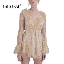 c82c1d03ff LALA IKAI Brand Ruffles Women Summer Dress Full Sleeve V-Neck Star  Appliques Vestido Vintage