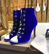 Hot Selling Royal Blue Velvet Socks Ankle Boots Peep Toe Lace-up High Heels Ladies Ankle Boots Fashion 2019 Spring Autumen Boot