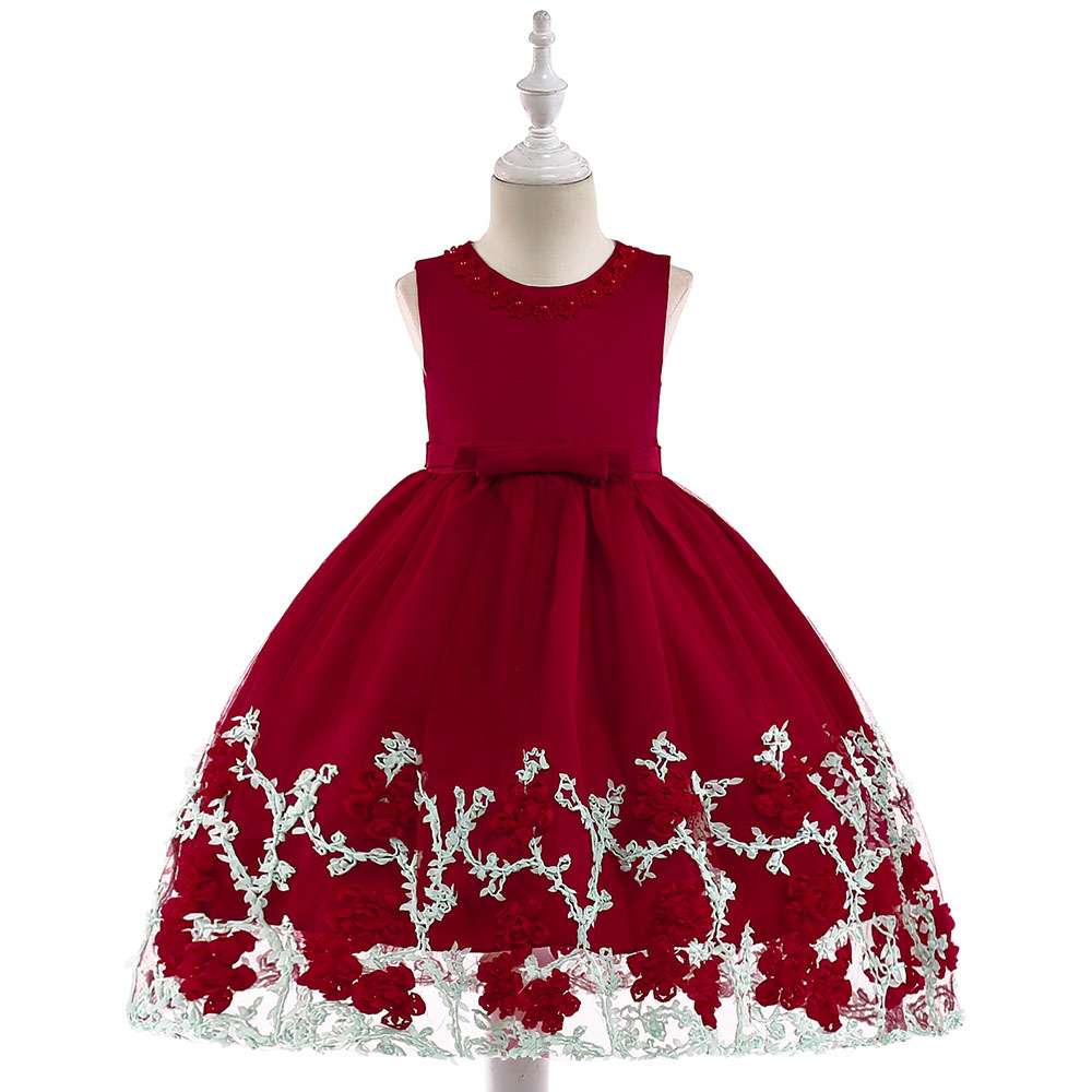 Retail Boutiques Cute Princess   Flower     Girls   Red   Dress   With Bow Elegant   Flower   Necklace   Girls   Party Claret Gown   Dress   L5028