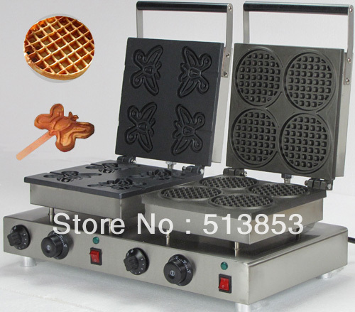 Free Shipping,High Quality Doulbe-Head  Electric Butterfly Waffeleisen +Round Waffle Maker Machine Baker free shipping high quality doulbe head electric cream cone round waffle maker machine baker
