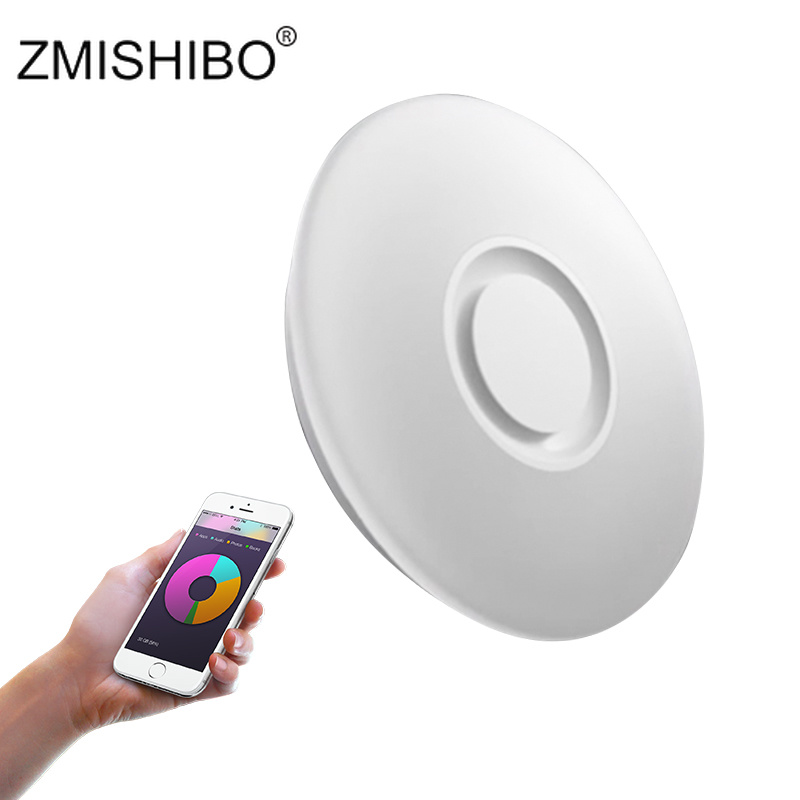 ZMISHIO 220 240V Fashion LED Ceiling Lamp With Bluetooth Speaker APP Control White Body Dimmable With Colorful Atmosphere Lights|Ceiling Lights| |  - title=