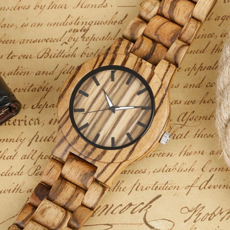 Kūrybinis medinis laikrodis vyrams bambuko kvarco minimalistinis - Vyriški laikrodžiai - Nuotrauka 3