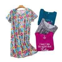 Sexy Floral nightgowns women sleepwear dress Summer cotton casual nightdress pyjamas women night dress plus size