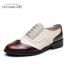 Genuine leather flat shoes women US size 11 handmade brown beige grey 2016 vintage British style oxford shoes for women