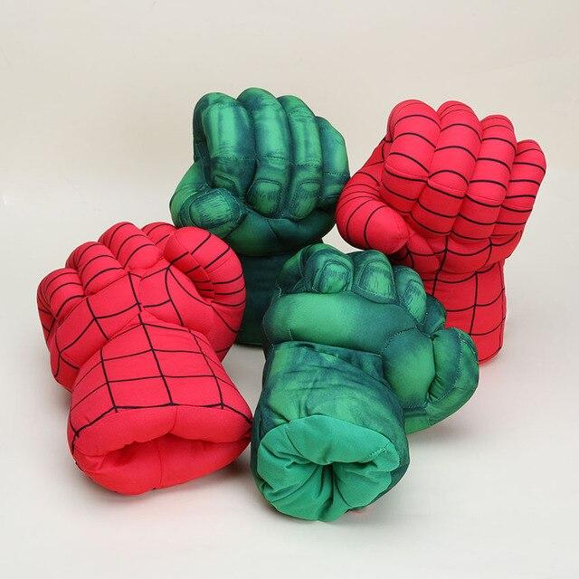 10 ''26 centímetros de Super-heróis Brinquedos Incrível Hulk Luvas/SpiderMan homem aranha Mãos Quebra Luvas De Pelúcia Toy Kids