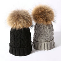 Fashion Real Fox Fur 15cm Pom Pom Ball Women Caps Lovers Twist Pattern Winter Hat Knitted