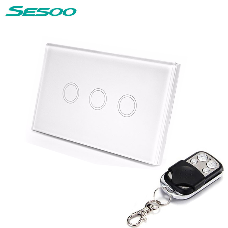 US /AU Standard SESOO Remote Control Switch 3 Gang 1 Way ,RF433 Smart Wall Switch, Wireless remote control touch light switch eu uk standard sesoo remote control switch 3 gang 1 way wireless remote control wall touch switch light switch for smart home