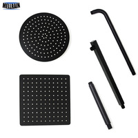 Black Round and Square Rain Shower Head Ultrathin 2 mm 8 10 12 Inch Choice Bathroom Wall & Ceiling Mounted Shower Arm