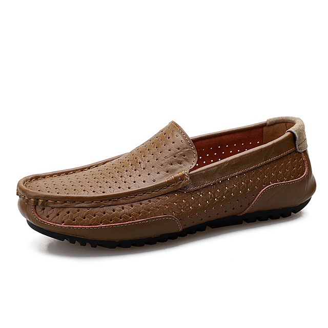 Genuine Leather Men Shoes Loafers Hole