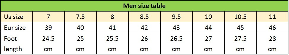 men size table
