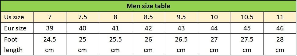 men size table