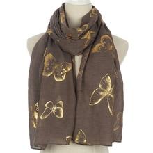 Winfox New Fashion Khaki Foil Gold Big Butterfly Shawl Wrap Hijab Scarves For Womens Ladies