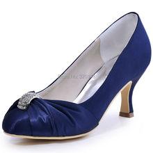 Women Navy Blue Close Toe Mid Heel Rhinestone Pumps Satin Bride Bridesmaid Lady Evening Dress Wedding Bridal Shoes HC1526 Purple