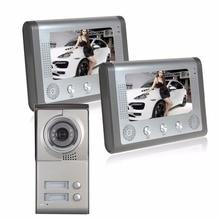 2 Apartment Video Door Phone wired Video Intercom Doorbell camera System 700 TVLine IR Camera zinc alloy case for 2 Families