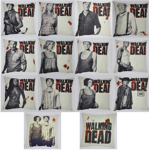 1 piece 43 43cm fashion the walking dead cotton linen pillow case chair square waist pillow cushion cover home textile in cushion cover from home garden