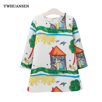 YWHUANSEN High Quality Printing Dresses For Girls 10 Years Fashion Clothes For Adolescent Girls Korean Children