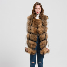 Jancoco Max S1562 New 2016 Design Lady real raccoon fur vest or women winter new style