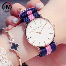 Японский кварцевый механизм женские часы моды Повседневное Для женщин браслет лучший бренд нейлоновый ремешок розовый простой Водонепроницаемый часы наручные 36 мм