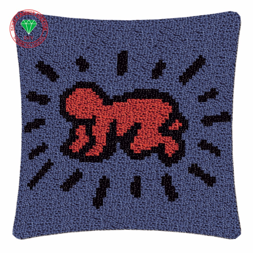 Bear1 Latch Hook Kits DIY Throw Pillow Cover Rug Pattern Printed Pillowcase Embroidery Needlework Craft Home Decoration Gifts