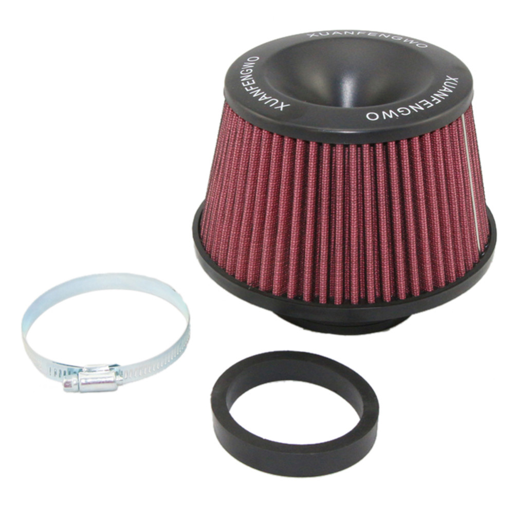 "Universal Kits Auto car Intake Air Filter Air Filter 3"" 76mmr High Flow Cone Cold Air Intake Performance Red 9"