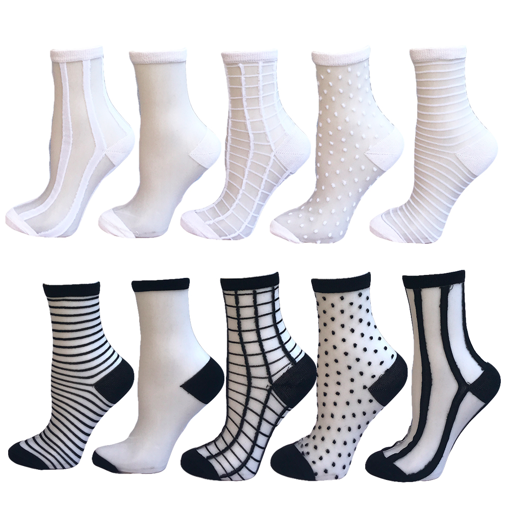 YEADU 10 Pairs/lot Lace Women   Socks   Transparent Crystal Silk Different Style Comfy Sheer Spring Summer 2018 Invisible Ankle   Sock