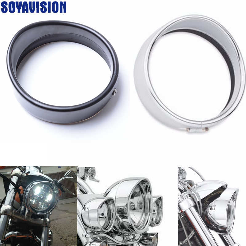 5.75 Inch Black/chrome Visor Style Headlamp Trim Ring 69735-05 For Harley Street Bob/dyna Super Glide/ Street 750 Possessing Chinese Flavors Covers & Ornamental Mouldings Delicious Free Shipping Motorcycle Accessories & Parts