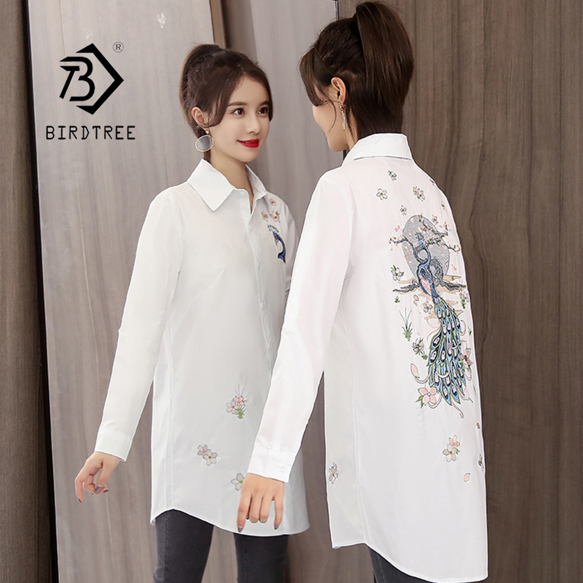 New Arrival Women Peacock Peach Flower Embroidery Long Cotton White Blouse Full Sleeve Female Shirt Turn-Down Collar Top T96420F