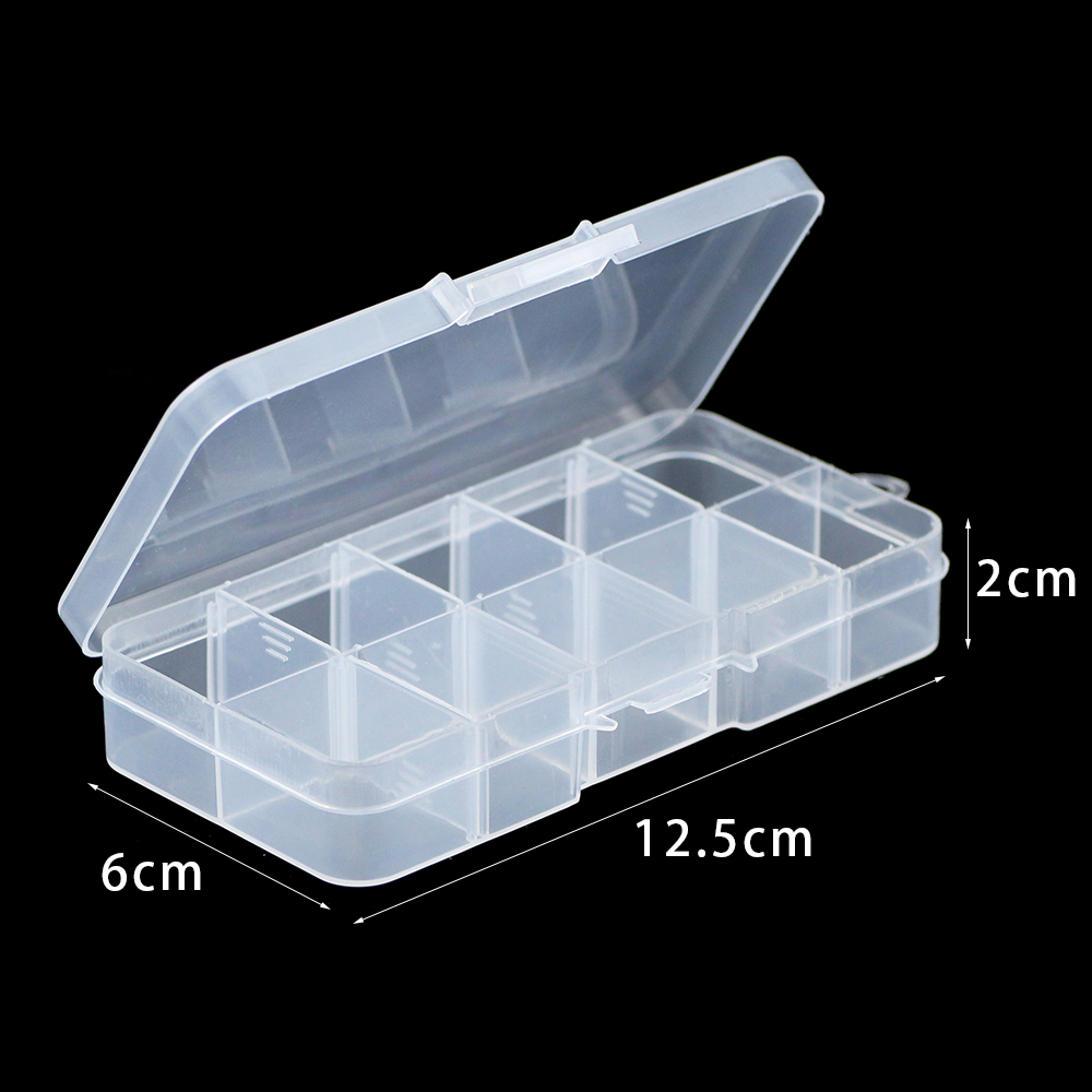 WLYeeS Adjustable 10 Slots Compartment Plastic Storage Jewelry Box Ewelry Earring Bead Holder Case Display Organizer Container