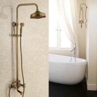 Antique shower set European copper faucet shower shower Retro Blue and white porcelain hand spray