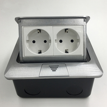 цена на New Aluminum Panel EU Standard Pop Up Floor Socket 2 Way Electrical Outlet Modular Combination