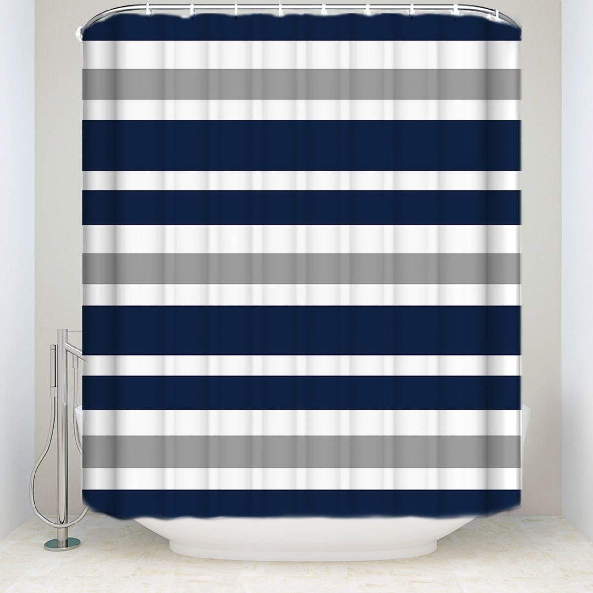 Designs Navy Blue Gray And White Kids Bathroom Fabric Bath Teen Stripe Shower Curtain Shower Curtains Aliexpress