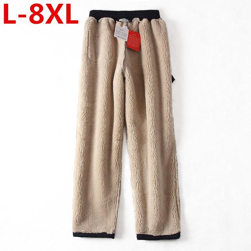 2017 nova tamanho grande 8XL 7XL Roupas Calças de Inverno homem Calças de Lã Primavera Outono Inverno quente Casual Calças de Algodão de Moda calças