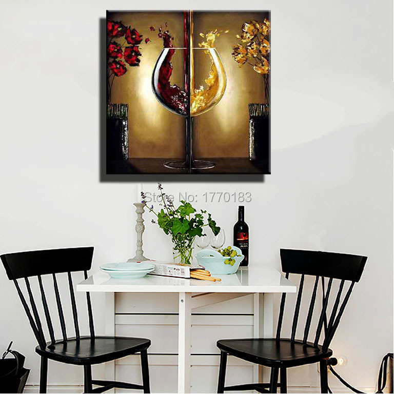 The Red Wine Glass Painting Handmade Modern Abstract Flower Oil Paintings  Large Canvas Art Cheap Dining Room Wall Decor Picture In Painting U0026  Calligraphy ...