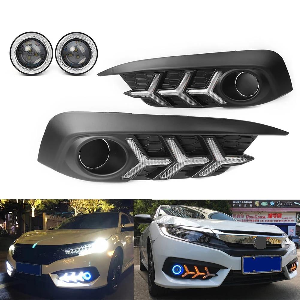 LED DRL COB Angel Eyes Fog Light Lamp w// Signals For Honda Civic Sedan 2016-2018
